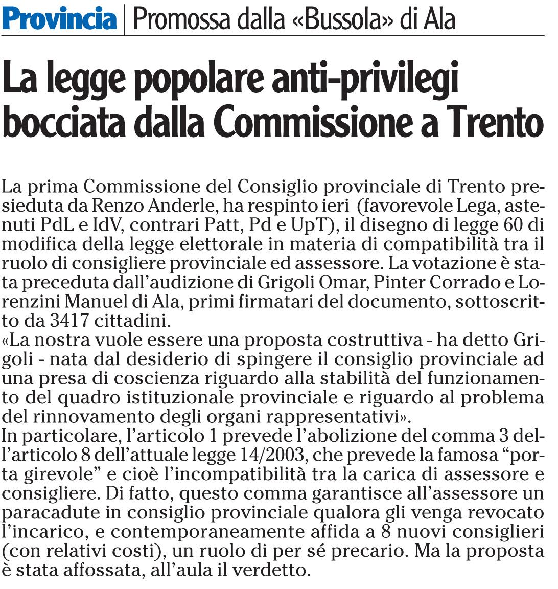l'Adige 9 febbraio 2011, pag.34 cronaca di Rovereto