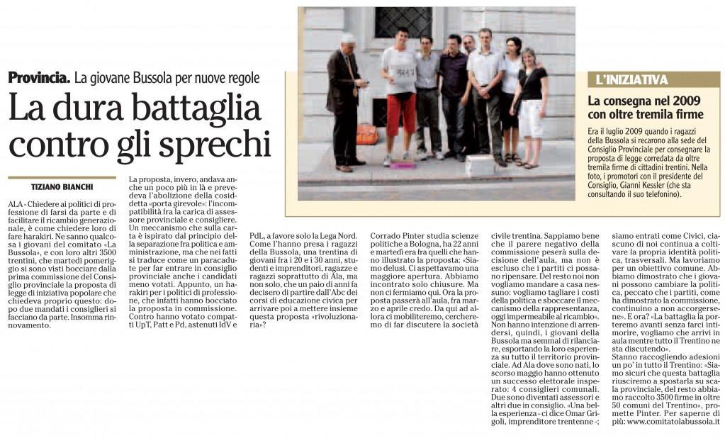 l'Adige 10 febbraio 2011, cronaca di Rovereto pag. 31 - Tiziano Bianchi