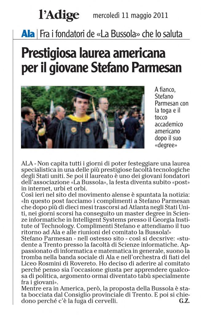l'Adige 11 maggio 2011 cronaca Vallagarina