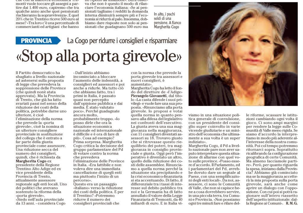 l'Adige 11 luglio 2011: l'intervista a Margherita Cogo
