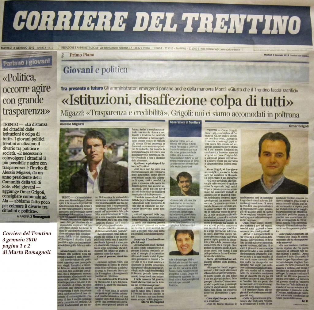 3/01/2012 intervento di Omar Grigoli al Corriere del Trentino